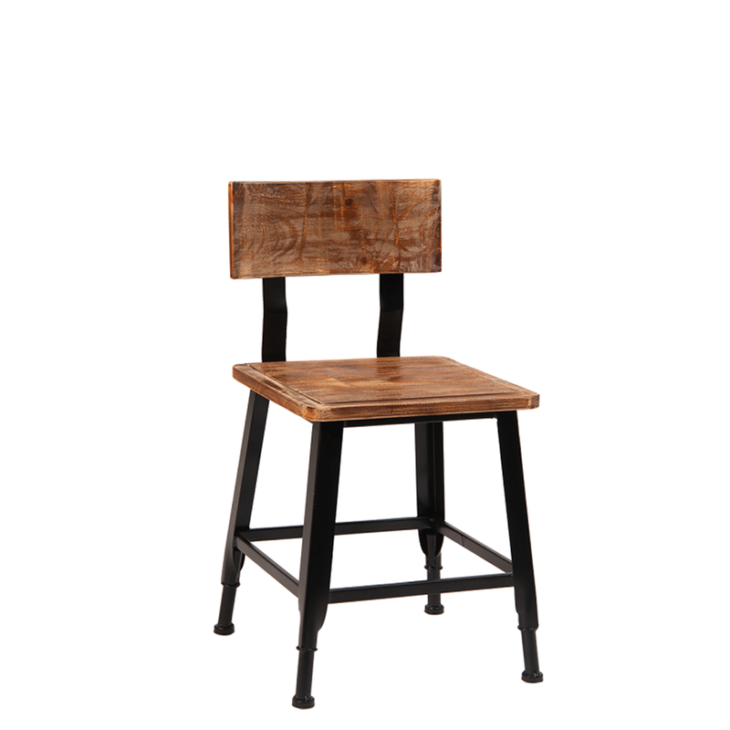 Indoor Black Metal Restaurant Chair With Pine Wood Seat & Back - Moda Seating Corp