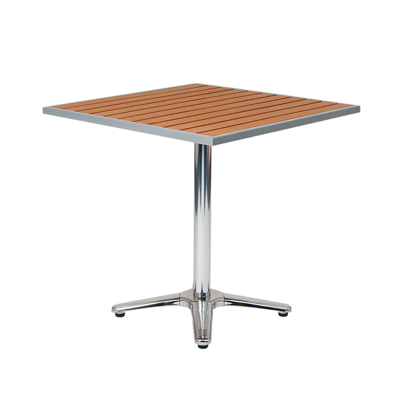 "30"" x 30"" Square Outdoor Aluminum Restaurant Table with Imitation Teak Slats Top - Moda Seating Corp"