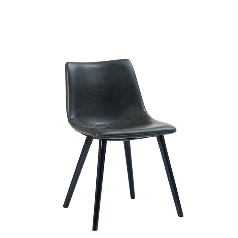 Black Steel Indoor Restaurant Chair With Wooden Legs & Padded With Black Vinyl
