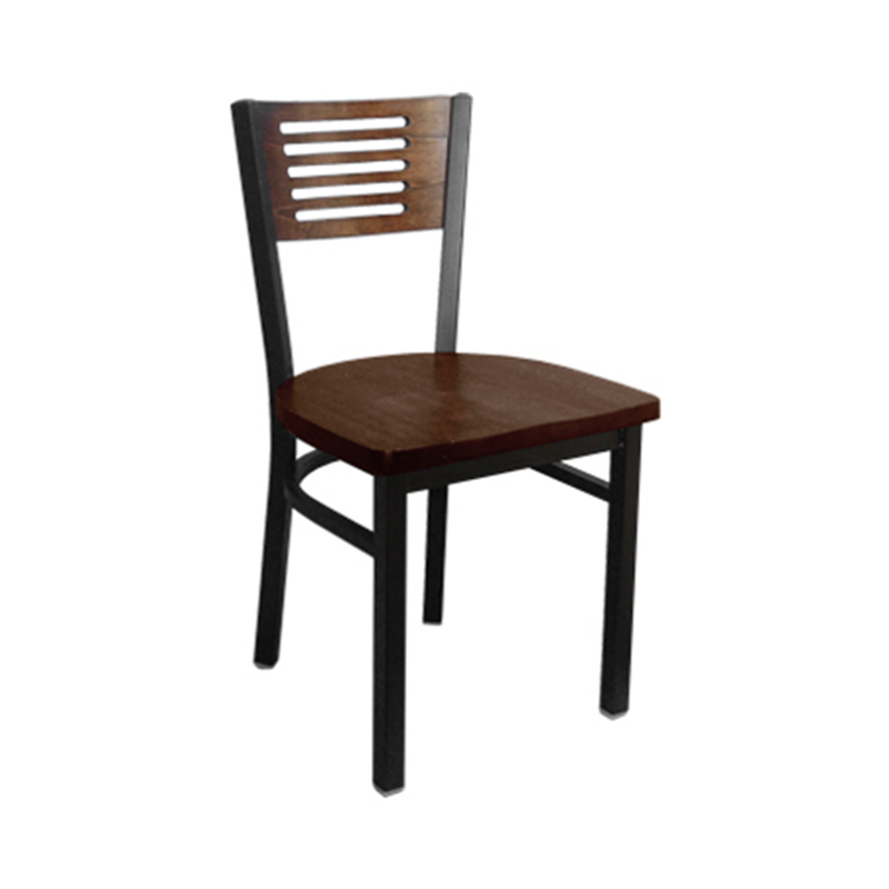 Wood and Metal Five Slats Back Indoor Restaurant Side Chair