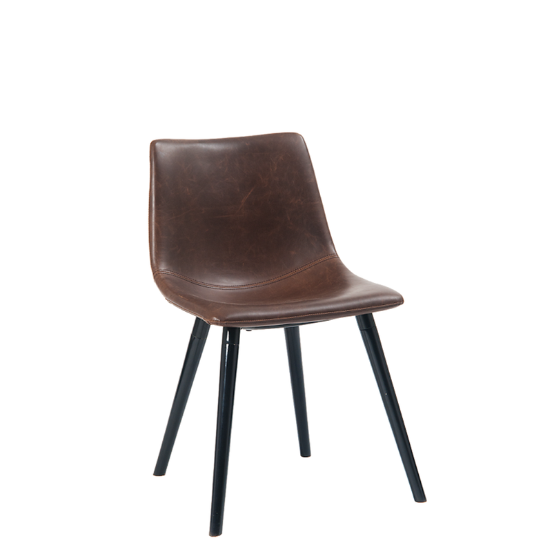 Black Steel Indoor Restaurant Chair With Wooden Legs & Padded With Dark Brown Vinyl