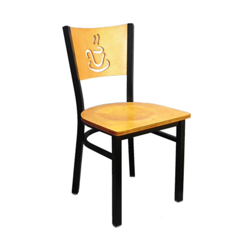 Cafe Metal and Wood Cup O' Coffee Indoor Restaurant Side Chair