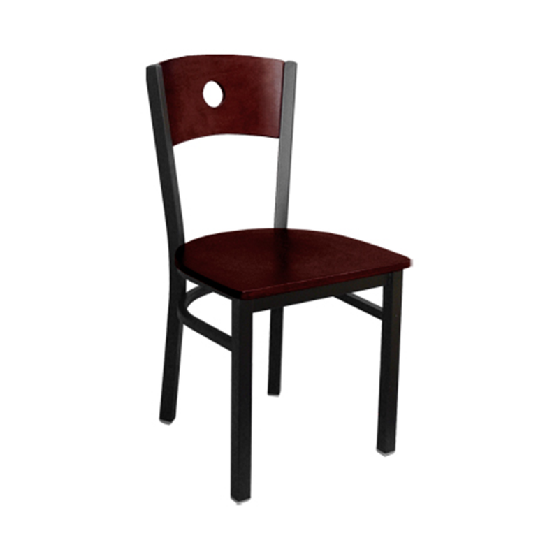 Indoor Metal and Wood Carved Circle Restaurant Side Chair - Moda Seating Corp