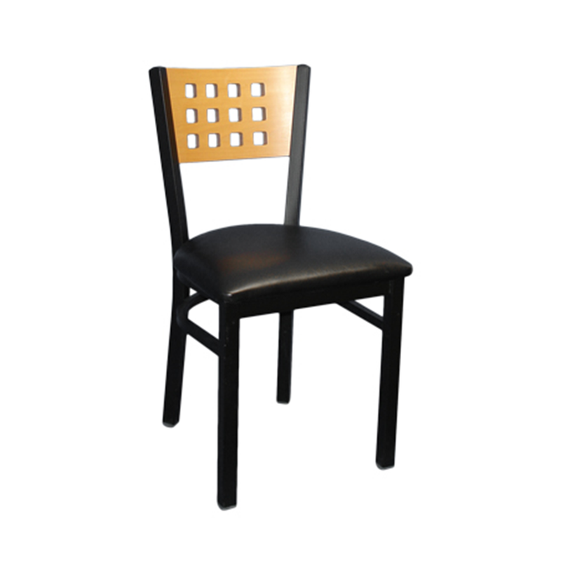 Black Metal and Wood Circle Back Indoor Restaurant Side Chair