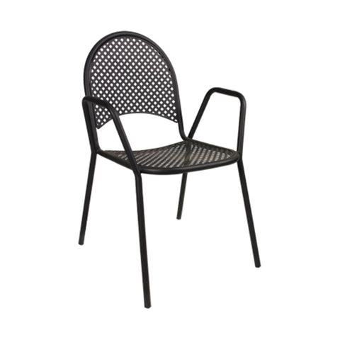 Black Metal Powder Coated Mesh Outdoor Restaurant Chair