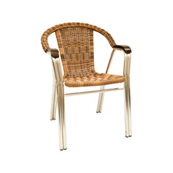 Aluminum Base Natural and Brown Wicker Outdoor Stack Chair w/ Armrest