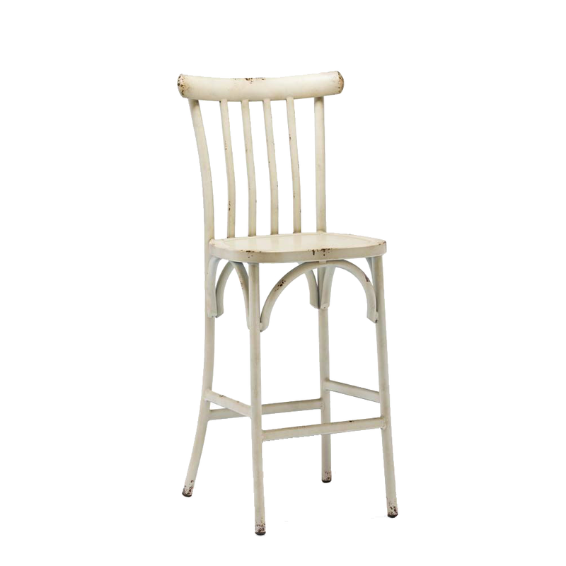 Vertical Slat Indoor Metal Restaurant Bar Stool In Distressed Cream Finish