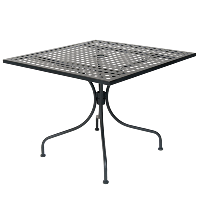"36"" x 36"" Square Black Metal Mesh Top Outdoor Restaurant Table with 2"" Umbrella Hole - Moda Seating Corp"