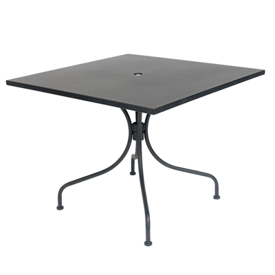 "36"" x 36"" Square Black Metal Outdoor Restaurant Table with 2"" Umbrella Hole - Moda Seating Corp"