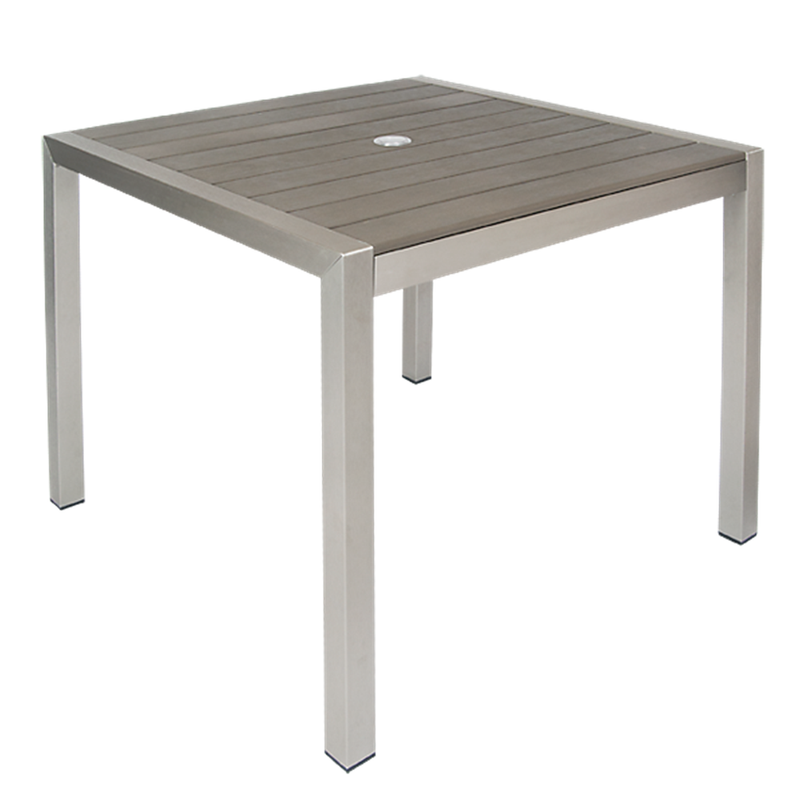 "36"" x 36"" Square Aluminum Restaurant Table with 2"" Umbrella Hole, Imitation Teak Slats Top in Grey F - Moda Seating Corp"