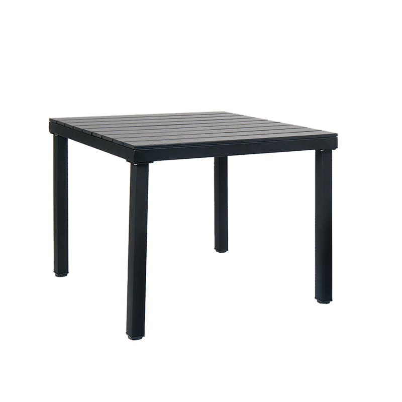 "36"" X 36"" Black Steel Outdoor Restaurant Table With Black Imitation Teak Slat Top, 1.5"" Umbrella Hole - Moda Seating Corp"