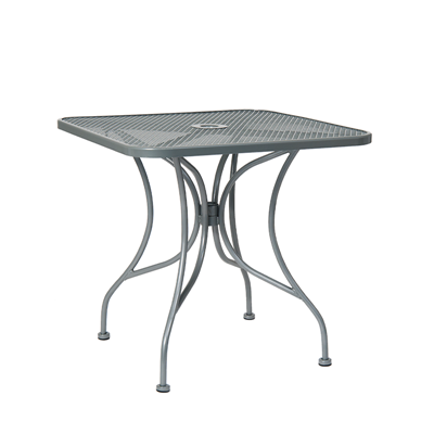 "36""X36"" Grey Steel Mesh Outdoor Restaurant Table With 2 Umbrella Hole"