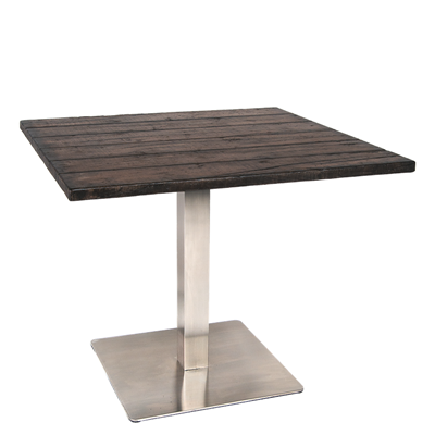 "36""X36"" Restaurant Table With Glass-Fiber-Reinforced Concrete Top and Stainless Steel Base"