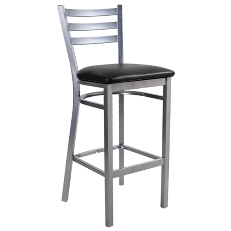 Silver Three Slat Ladder Back Indoor Restaurant Bar Stool - Moda Seating Corp