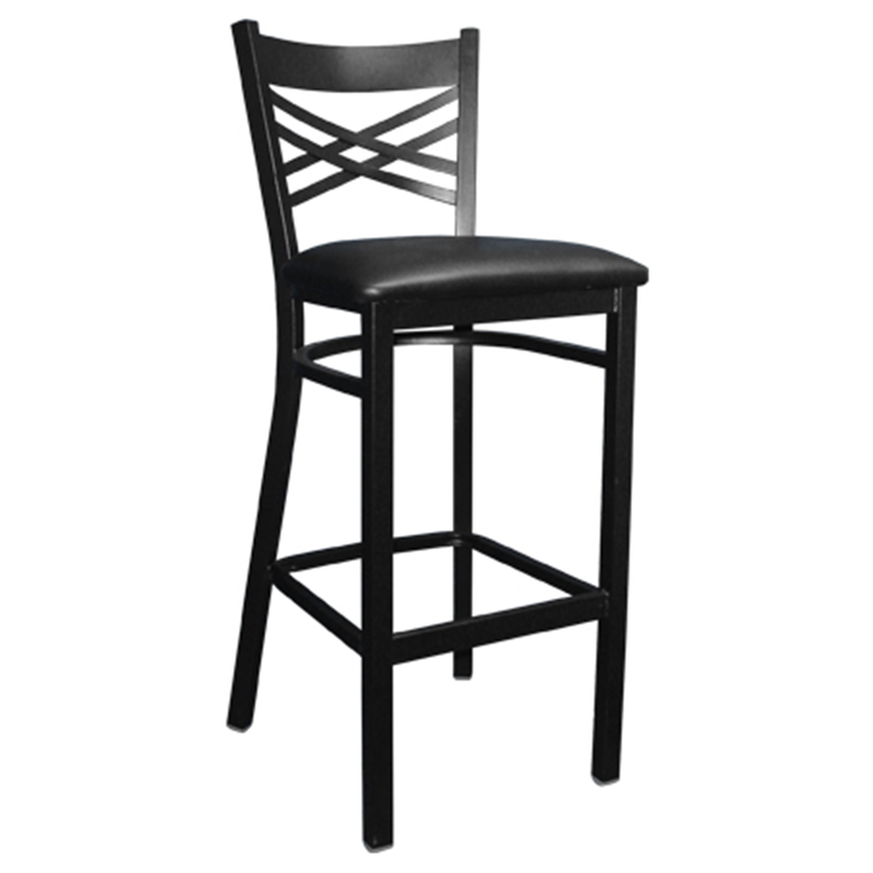 "Black Metal ""X"" Back Indoor Restaurant Barstool - Moda Seating Corp"