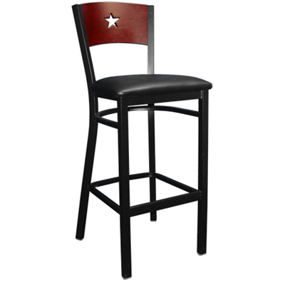 Star Back Wood and Black Metal Indoor Restaurant Bar Stool - Moda Seating Corp
