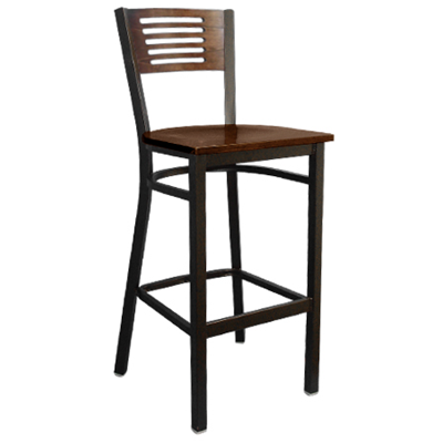 Five Slats Wood and Metal Indoor Restaurant Bar Stool