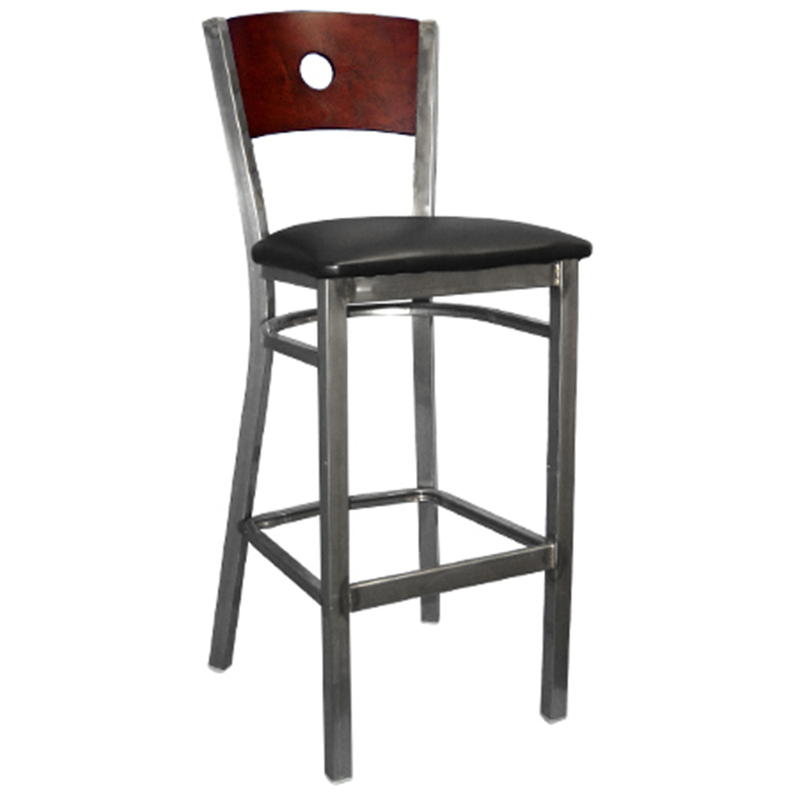 Clear Coated Metal with Wood Circle Back Indoor Restaurant Barstool