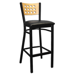 Black Metal and Wood Window Back Indoor Restaurant Bar Stool