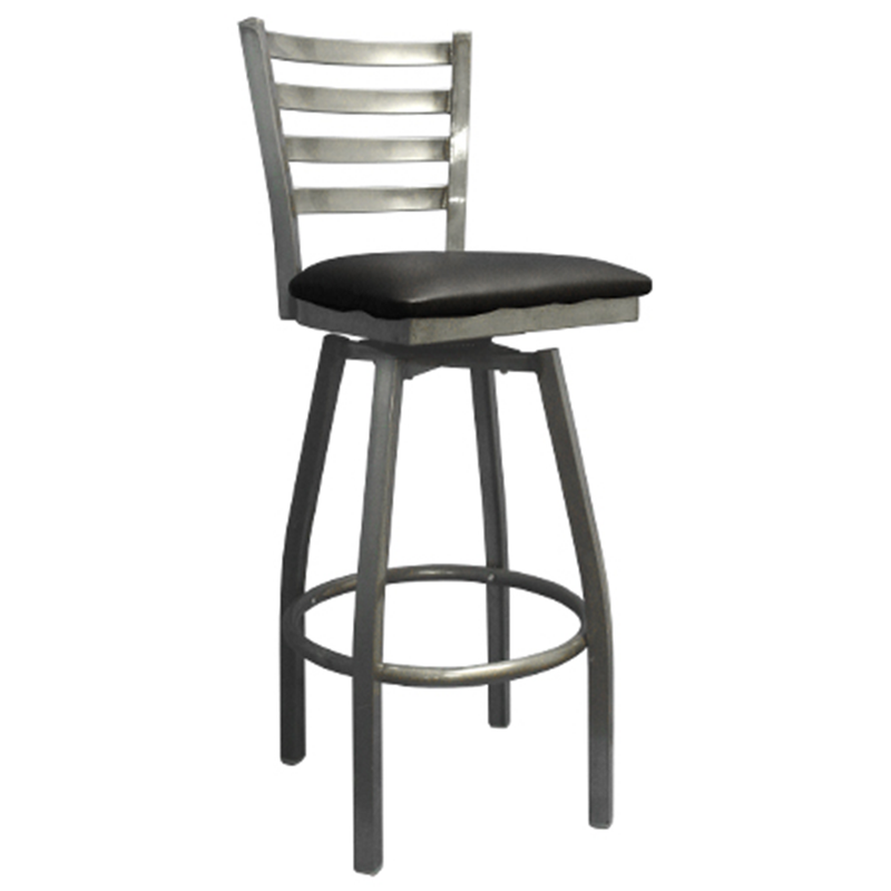 Clear Coated Metal Swivel Ladder Back Indoor Restaurant Barstool - Moda Seating Corp