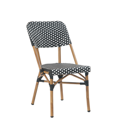 Aluminum Black & White Poly Woven Outdoor Restaurant Chair