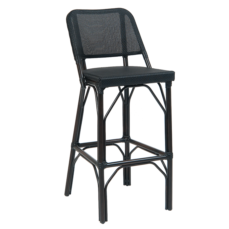 Black Poly Woven Aluminum Outdoor Restaurant Bar Stool