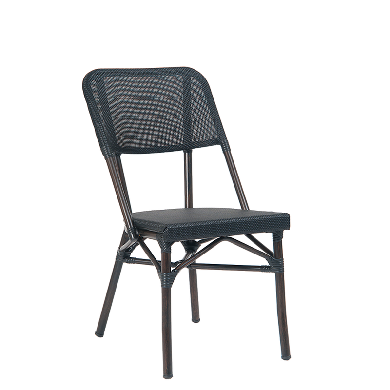 Aluminum Black Poly Woven Outdoor Restaurant Chair - Moda Seating Corp