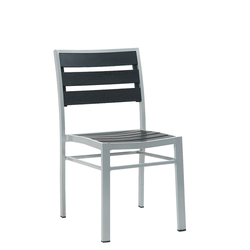 Outdoor Grey Aluminum Restaurant Side Chair With Black Imitation Teak