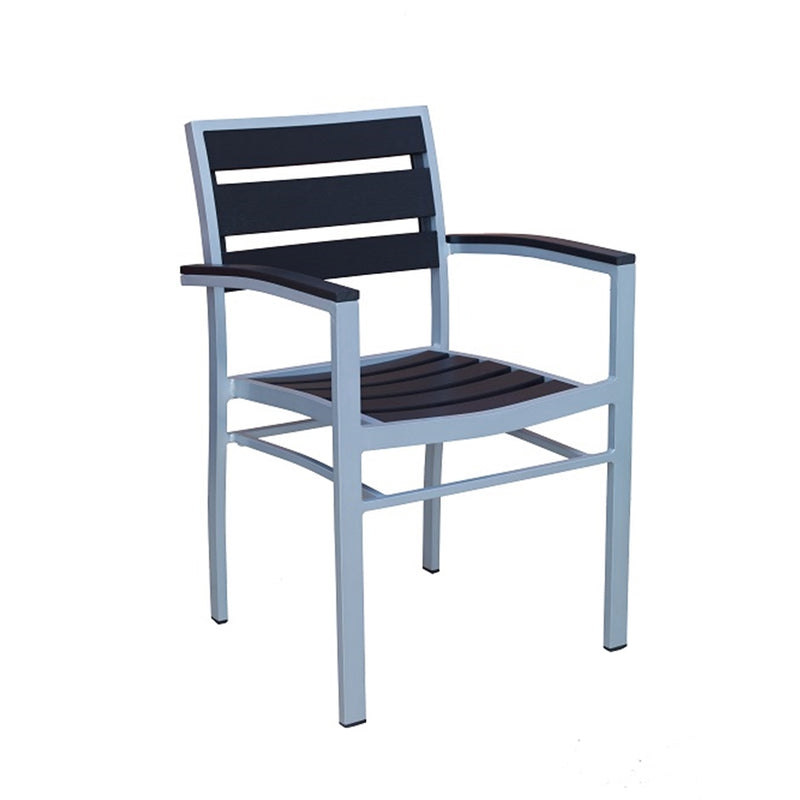 Outdoor Grey Aluminum Restaurant Arm Chair With Black Imitation Teak - Moda Seating Corp