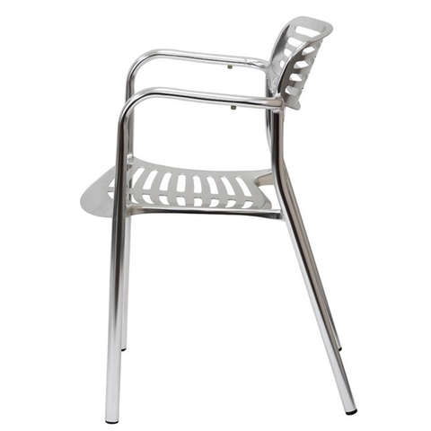 Contemporary Outdoor Aluminum Underscore Stacking Restaurant Arm Chair
