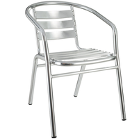 Aluminum Outdoor Slat Restaurant Stacking Arm Chair