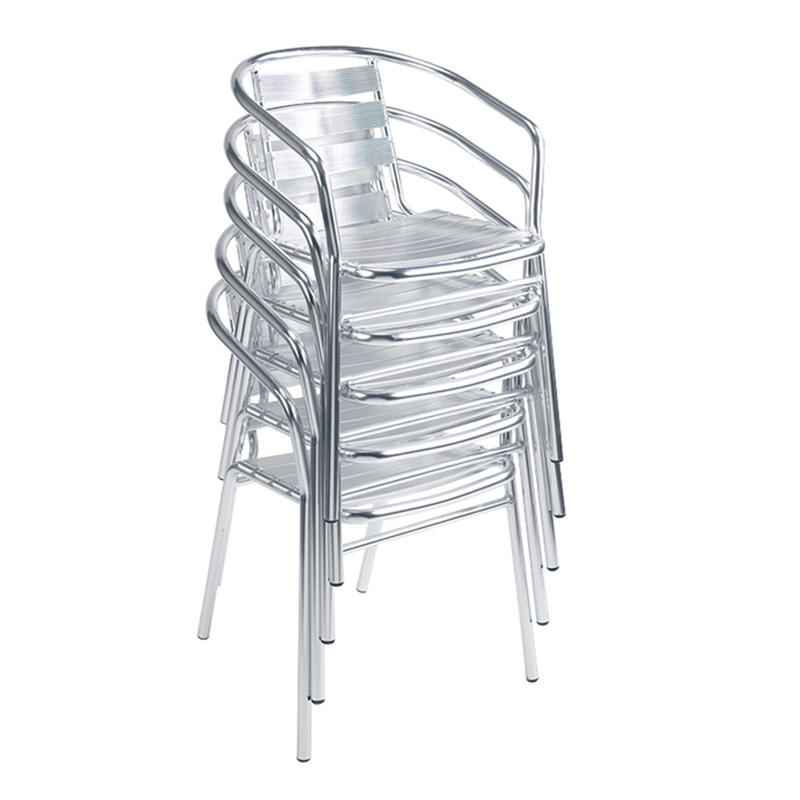 Aluminum Outdoor Slat Restaurant Stacking Arm Chair - Moda Seating Corp
