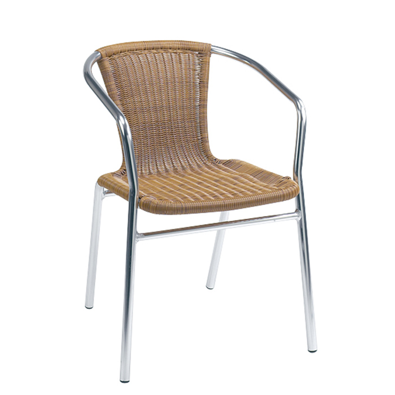 Aluminum and Honey Outdoor Wicker Stacking Restaurant Arm Chair