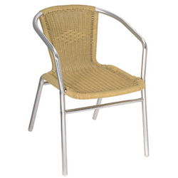 Aluminum and Tan Outdoor Wicker Stacking Restaurant Arm Chair