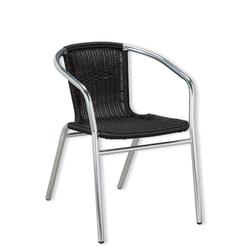 Aluminum and Black Outdoor Wicker Stacking Restaurant Arm Chair