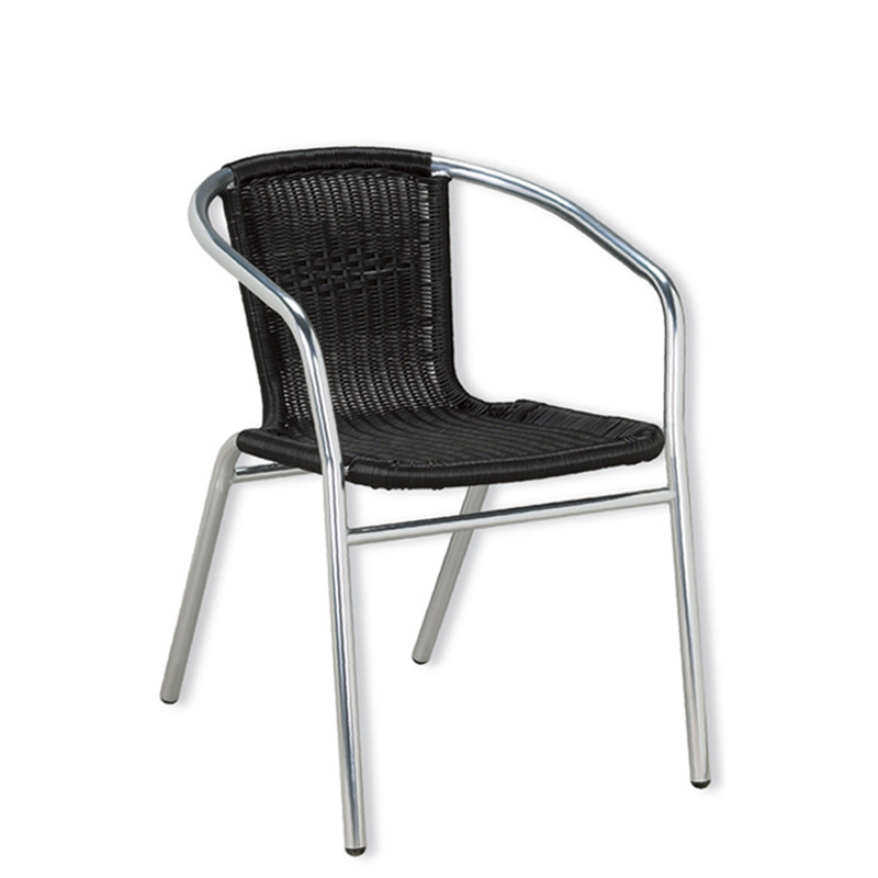 Aluminum and Black Outdoor Wicker Stacking Restaurant Arm Chair - Moda Seating Corp