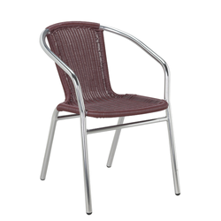 Aluminum and Burgundy Outdoor Wicker Stacking Restaurant Arm Chair
