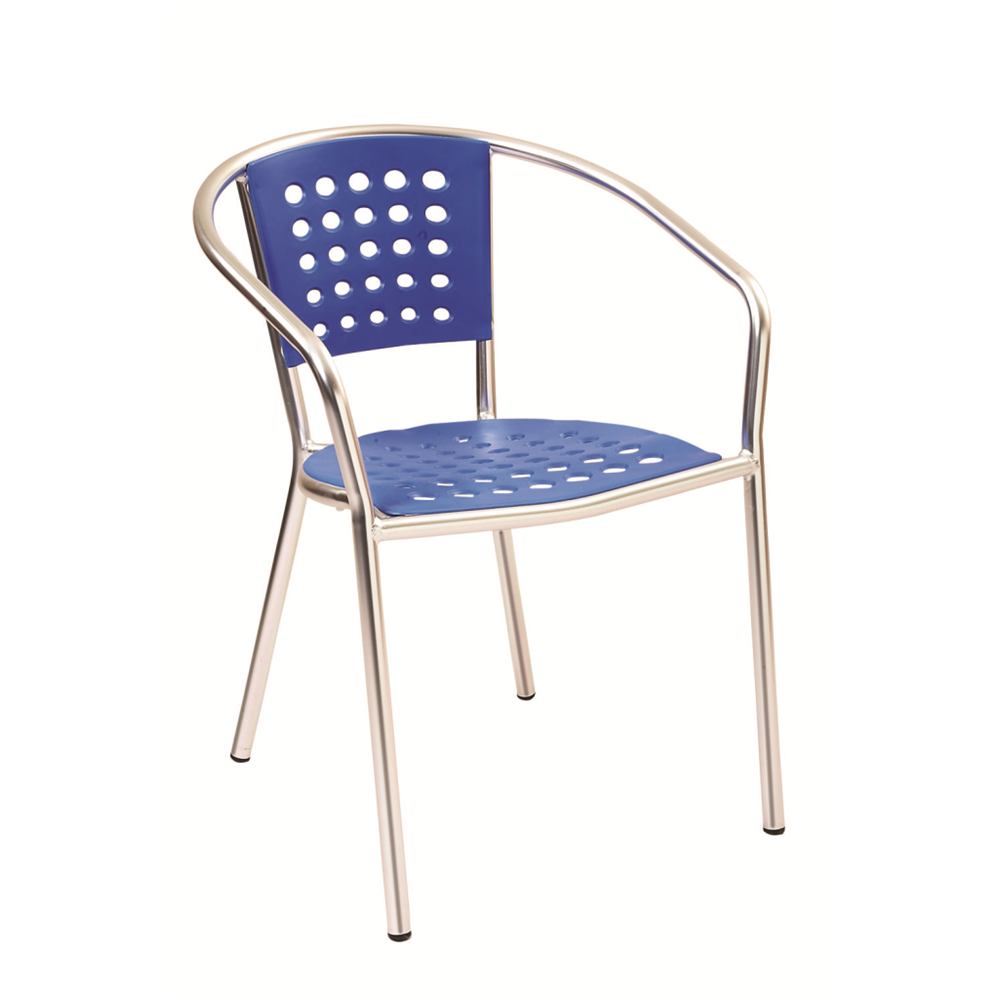 Aluminum Frame with Blue Resin Seat and Back Outdoor Restaurant Arm Chair