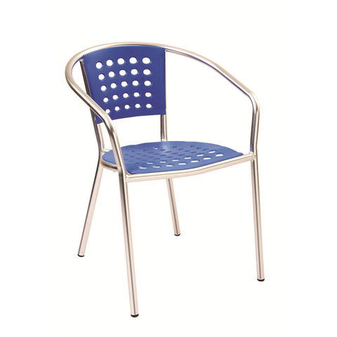 Aluminum Frame with Blue Resin Seat and Back Outdoor Restaurant Arm Chair - Moda Seating Corp