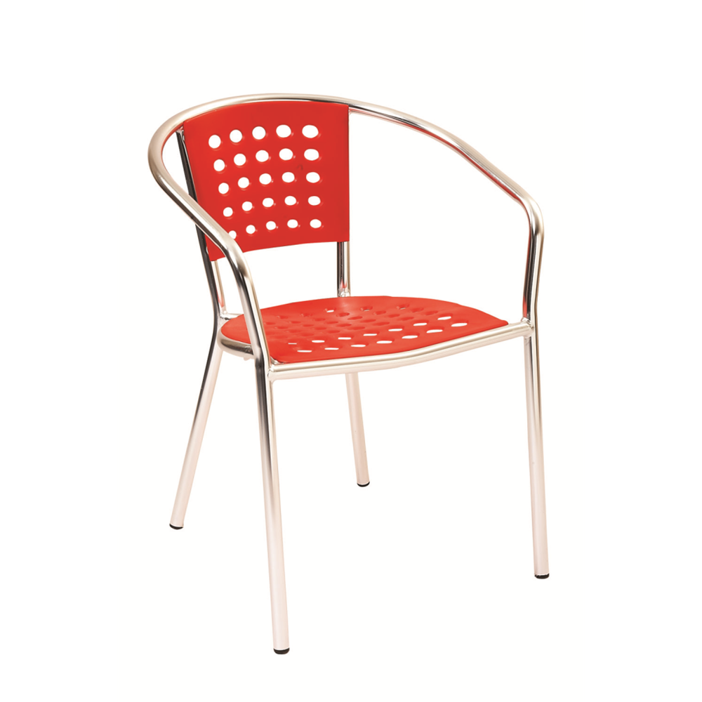 Aluminum Frame with Crimson Resin Seat and Back Outdoor Restaurant Arm Chair