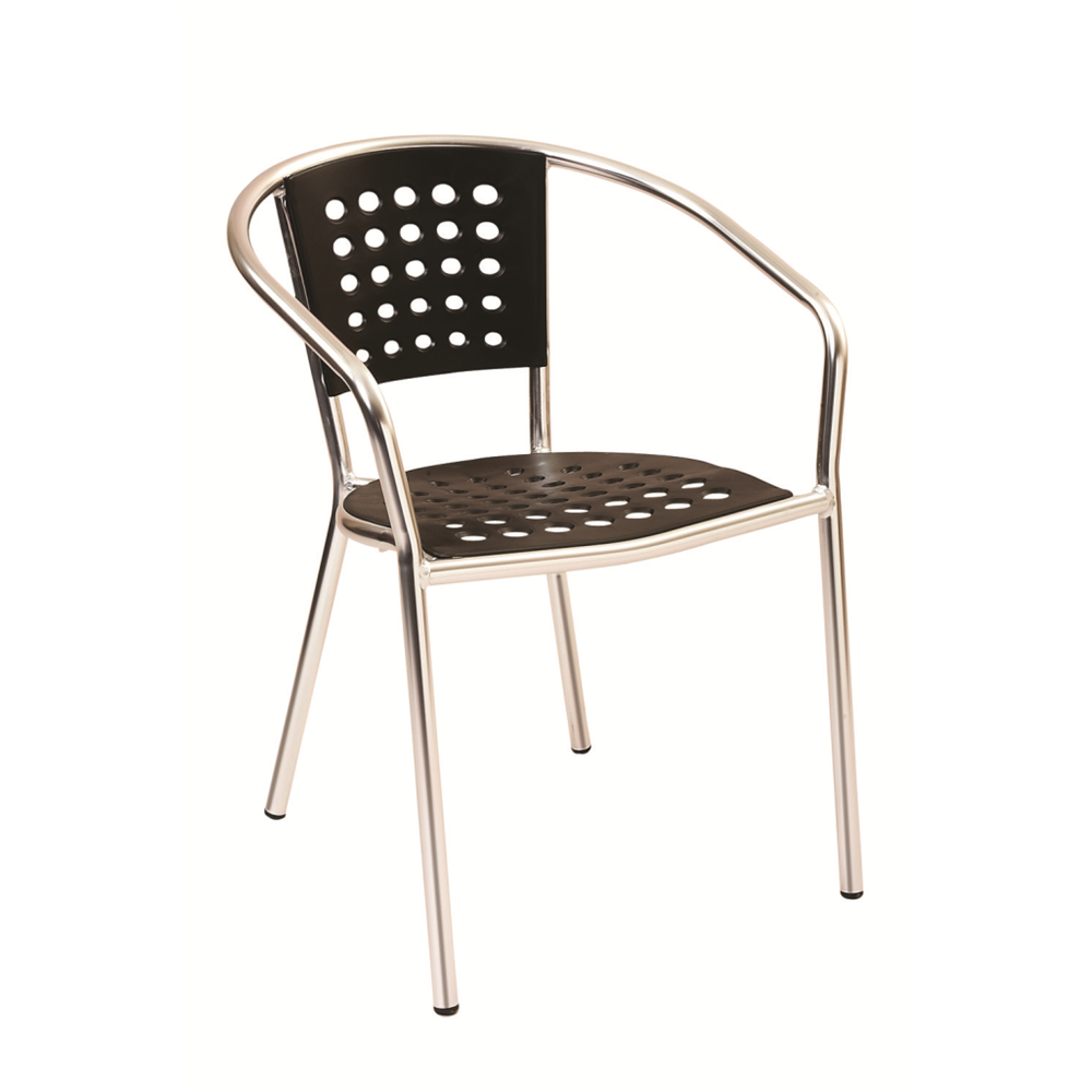 Aluminum Frame with Black Resin Seat and Back Outdoor Restaurant Arm Chair