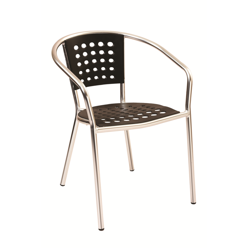 Aluminum Frame with Black Resin Seat and Back Outdoor Restaurant Arm Chair - Moda Seating Corp