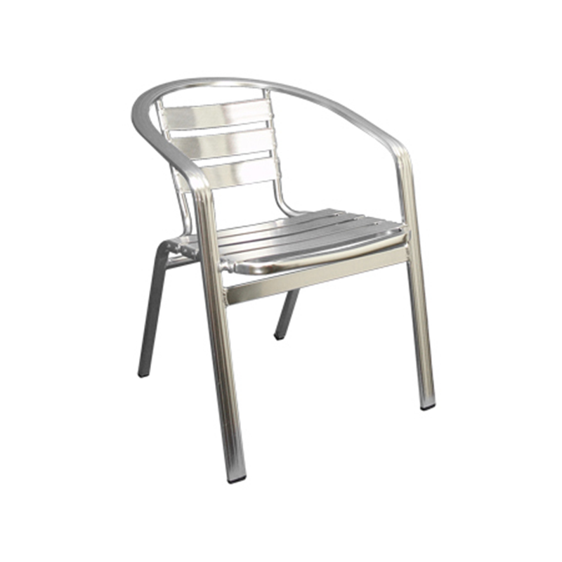 Aluminum Slat Back and Seat Outdoor Stackable Restaurant Arm Chair