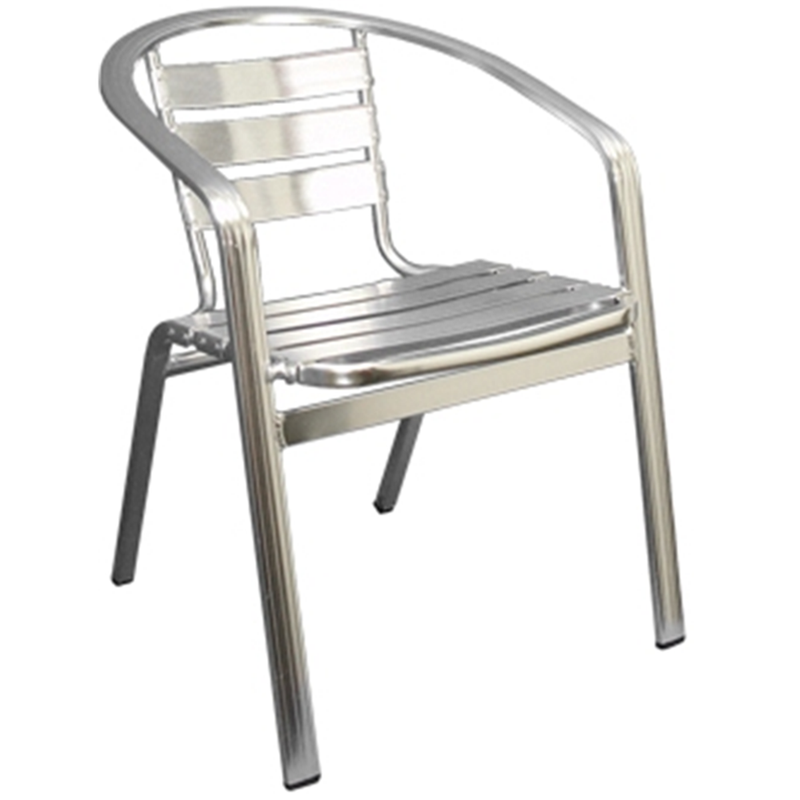 Aluminum Slat Back and Seat Outdoor Restaurant Arm Chair