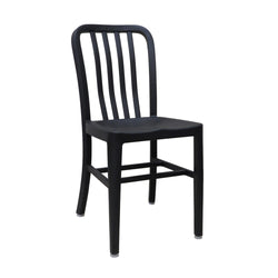 Aluminum Cafe Navy Restaurant Side Chair with Black Finish