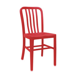 Aluminum Cafe Navy Restaurant Side Chair with Red Finish