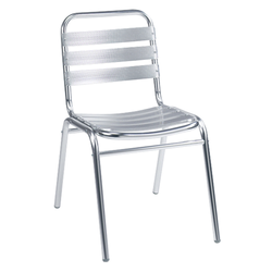 Aluminum Outdoor Slat Stacking Restaurant Side Chair