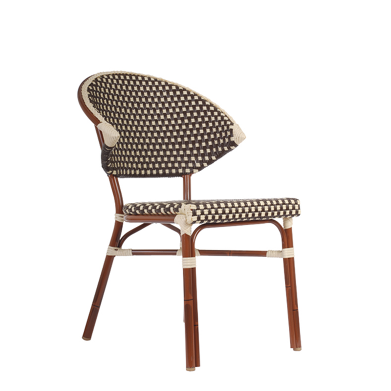 Aluminum And Cane Mahogany Bistro Outdoor Restaurant Side Chair