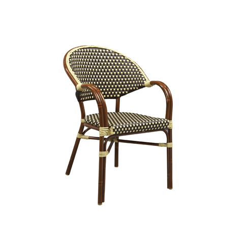 Aluminum And Cane Mahogany Bistro Arm Chair - Moda Seating Corp