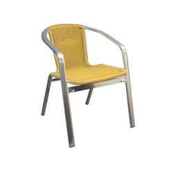 Aluminum and Golden Outdoor Wicker Stacking Restaurant Arm Chair